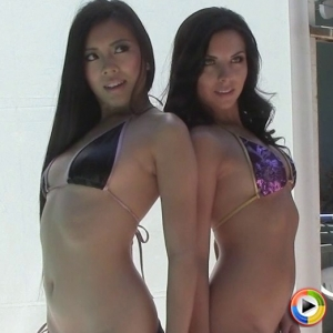Alluring Vixens: Watch as Alluring Vixen tease Ashlin poses in a skimpy bikini with her cute asian friend