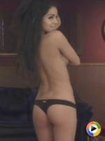 Watch as topless Alluring Vixen babe Melissa C. teases in just her tiny black panties