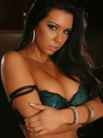 Stunning Alluring Vixen Alisa teases in her teal with black lace bra and matching panties