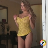 Watch as sexy Alluring Vixen Erika shows off her perfect curves in a tight lace and sheer dress
