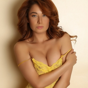 Alluring vixens: perfect alluring vixen babe lilly shows off her curves in a skimpy yellow lace dress.