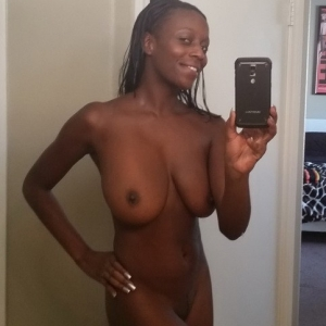 Share my gf: curvy black girlfriend takes selfshot pictures of her huge natural tits after getting out of the shower for her boyfriend.