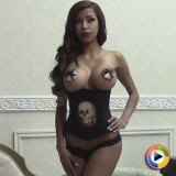 Busty Alluring Vixen tease Jenna C shows off her huge boobs covered with just pasties