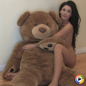 Alluring vixens: watch as naked alluring vixen babe danielle shows off as she poses with a giant teddy bear.