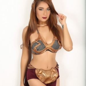 Alluring vixens: tiny alluring vixen babe lilly dresses up in her slave leia costume for halloween.