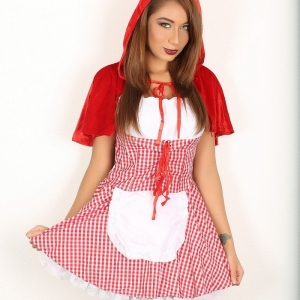 Alluring vixens: excited alluring vixen tease lilly goes commando in her little red riding hood costume for halloween.