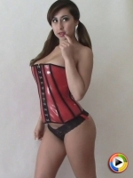 Watch as busty Alluring Vixens babe Arianna teases with her big boobs in her tight corset