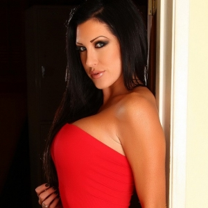Alluring vixens: sophisticated alluring vixen babe summer shows off her perfect curves in a tight red dress.