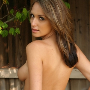 Alluring vixens: perfect alluring vixen babe candice teases topless outside in just her lace panties.