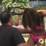 Watch as bikini clad Asian beauty Akira takes on and loses to Mr E in the ring