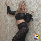 Watch as blonde Alluring Vixen Mindy Robinson teases in her crochet top and skirt