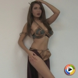 Watch as stunning Alluring Vixen favorite Lilly shows off in her Slave Leia and Little Red Riding Hood costumes for Halloween