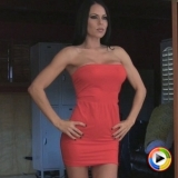 Watch as Alluring Vixen babe Jennifer show off her perfect body in her tight red dress