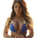 Stunning Alluring Vixen babe Rosalee shows off her perfect curves in her sexy blue and gold bikini