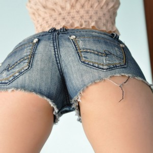 Hailey\'s hideaway: hailey shows off her anus in super tight and short jean shorts.