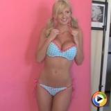 Busty blonde vixen Tawnie poses in cute matching bra and panties