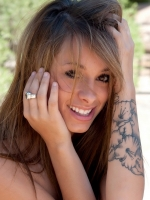 Petite Devine One Riley Jensen is playing around outside completely nude