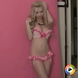 Sexy blonde Alluring Vixen Mindy Robinson loves to tease in her matching pink bra and panties
