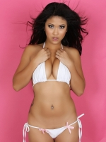 Perfect asian Alluring Vixen Michelle teases in a sexy skimpy white string bikini with little pink bows
