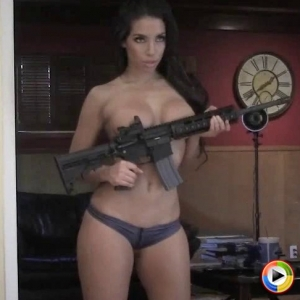 Watch as stunning busty Alluring Vixen Charm teases with her new big gun