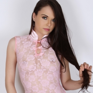 Alluring Vixens: Alluring Vixen Ashley C. loves to tease in her semi sheer pink rose top
