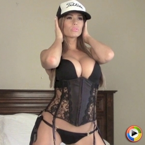 Alluring Vixens: Alluring Vixen babe Candace loves to tease with her big titties in a tight black lace corset