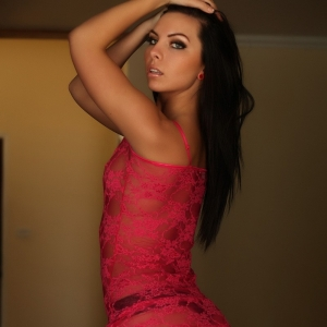 Alluring Vixens: Stunning Alluring Vixen babe Ashlin shows off her round tight ass as she strips out of her sexy red lace outfit