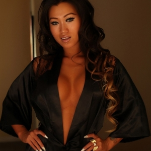 Alluring Vixens: Alluring Vixen babe Jada Cheng teases in a sexy black satin and lace robe