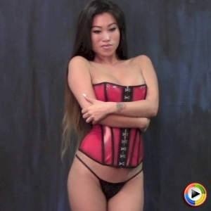 Alluring Vixens: Watch as perfect Alluring Vixen Jada Cheng poses in a tight sexy red corset