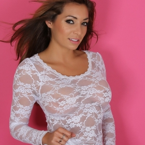 Alluring Vixens: Alluring Vixen babe Amber teases in a semi sheer lace top with matching white panties
