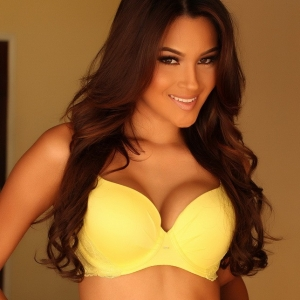 Alluring Vixens: Busty Alluring Vixen babe Cynthia shows off her perfect curves in matching yellow bra and panties