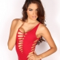Stunning Alluring Vixen Cynthia shows off her perfect curves in a skimpy red dress with no panties on