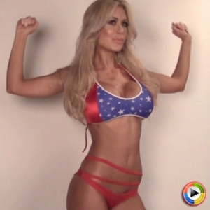 Watch as beautiful Alluring Vixen babe Karly shows off her American spirit for 4th of July