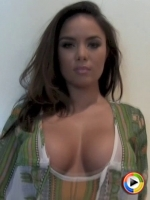 Watch as busty babe Justene Jaro teases in a skimpy top and tight pink panties
