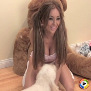 Sexy Alluring Vixen babe Nicole McDee poses in cute PJs with her hair up in pigtails