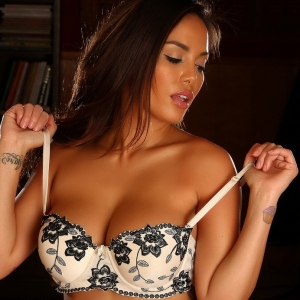 Club justene jaro: perfect babe justene jaro shows off her curves in a sexy simple white bra with black lace flowers and matching lace panties.