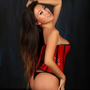 Alluring Vixens: Stunning asian Alluring Vixen babe Jada Cheng teases in a tight corset and black thong