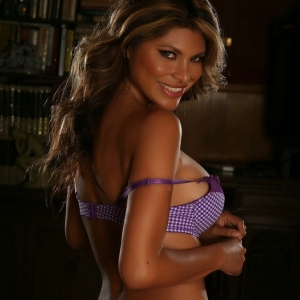 Alluring Vixens: Sexy Alluring Vixen tease Claudia shows off her perfect curves in matching purple checkered bra and panties