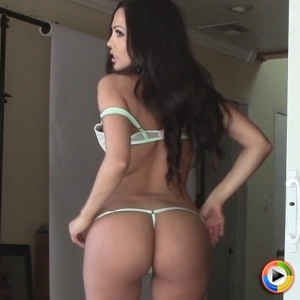 Watch as busty Alluring Vixen Karla shows off her perfect round ass in a tiny g-string